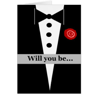 Be My Groomsman Card with Tux and Rose