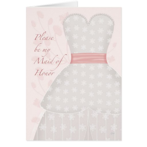 Be My Maid Honor Lace Gown Coral Greeting Cards