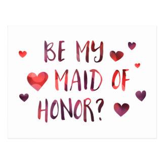 be my maid of honor bokeh postcard