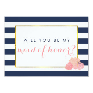 Be My Maid of Honor Card | Navy Stripe Blush Peony