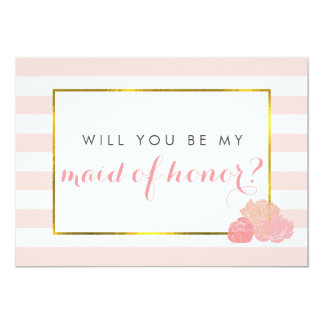 Be My Maid of Honor Card | Pink Stripe Blush Peony