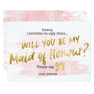 Be my Maid of Honour Blush Gold Watercolor Card