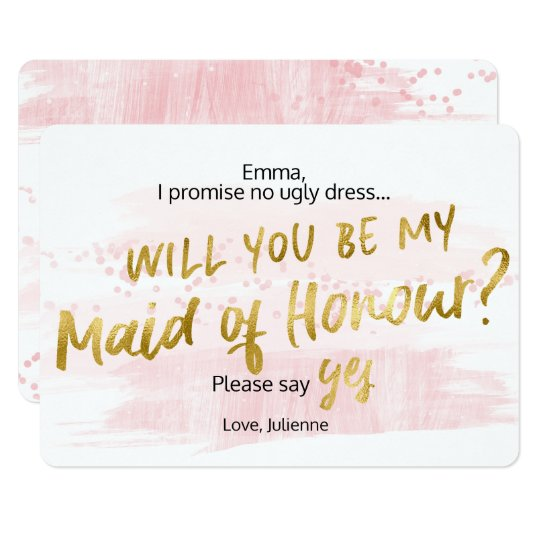 Be my Maid of Honour Blush Gold Watercolor