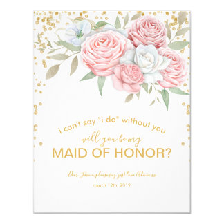 Be my Maid of Honour | Rustic Spring Garden Card