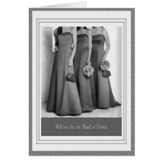 Be my Maid of Honour Wedding Party Invitiation Greeting Card