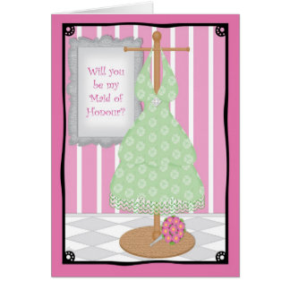 Be My Maid of Honour Whimsical Dress Shop Greeting Cards