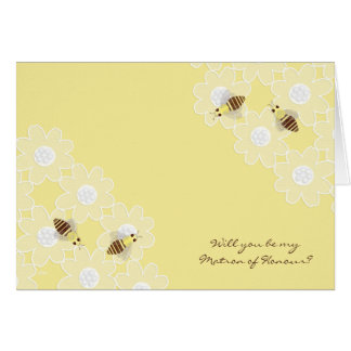 Be My Matron of Honour Honey Bees on Yellow Greeting Card