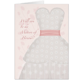 Be My Matron of Honour Lace Gown Coral Card