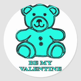 Be My Valentine Bear Cyan The MUSEUM Zazzle Gifts Stickers