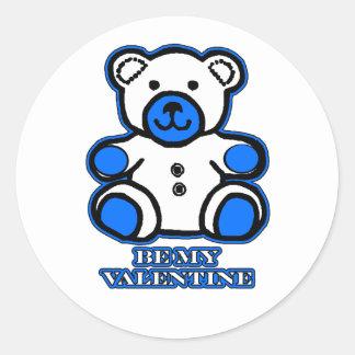 Be My Valentine Bear White Blue The MUSEUM Zazzle Sticker