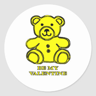 Be My Valentine Bear Yellow The MUSEUM Zazzle Gift Stickers