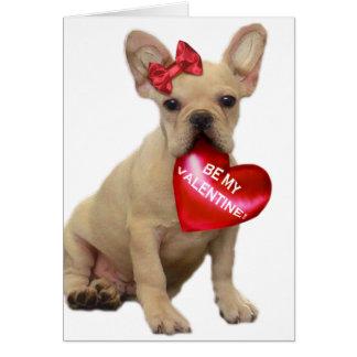Be my Valentine French bulldog puppy notecard