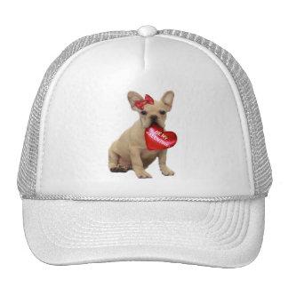 Be My Valentine French Bulldog White cap Mesh Hats