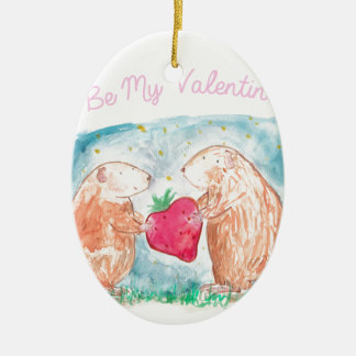 Be My Valentine Guinea Pigs In Love Painting Ceramic Oval Decoration