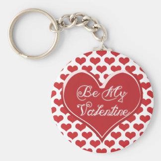 Be My Valentine Heart Basic Round Button Key Ring