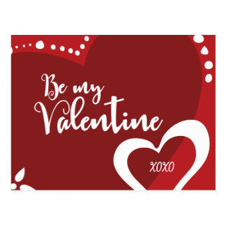Be My Valentine, Hearts, Red, Illustrations,  xoxo Postcard