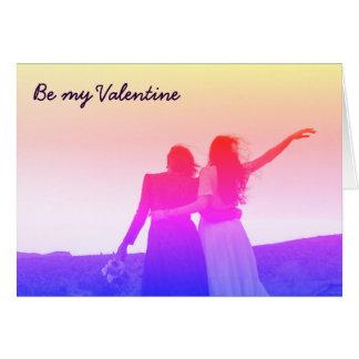 Be my Valentine (lesbian/bisexual) Greeting Card