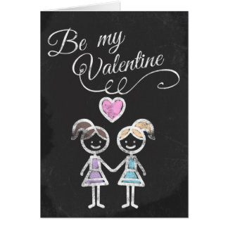 Be My Valentine Lesbian Chalkboard Themed Greeting Card