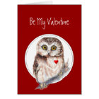 Be My Valentine Owl always Love You, Cute Bird Card