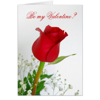 Be My Valentine? - Red Rose Note Card