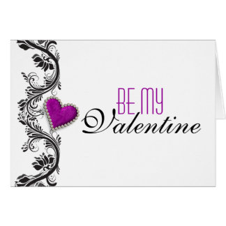 """Be my Valentine"" romantic purple heart Greeting Card"