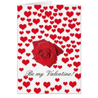 Be my Valentine Rose and hearts Valentine´s Day Greeting Card