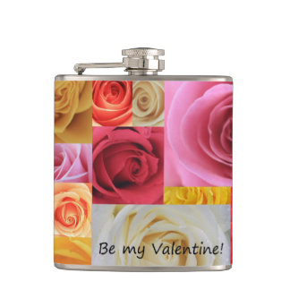 Be my Valentine roses Hip Flask