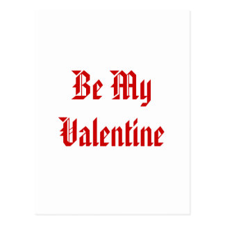 Be My Valentine. Valentines Day. Red and White. Postcard