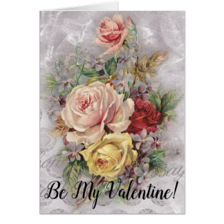 Be My Valentine Vintage Floral Bouquet Lilac Roses Card