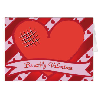 Be my valentine with red heart and stripes greeting cards