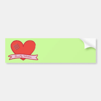Be my valentine with red heart car bumper sticker