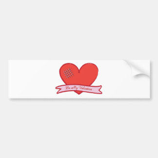 Be my valentine with red heart bumper sticker