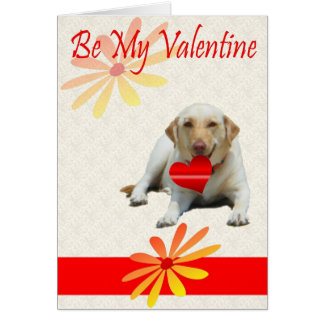 Be My Valentine Yellow Labrador Heart Card