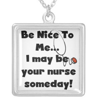 Be Nice Nurse T-shirts and Gifts Silver Plated Necklace