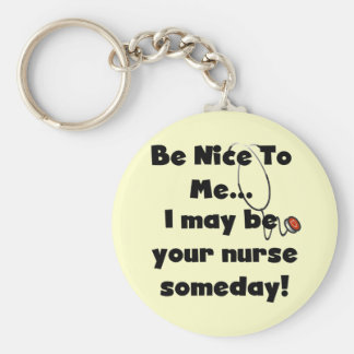 Be Nice Nurse Tshirts and Gifts Basic Round Button Key Ring