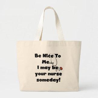 Be Nice Nurse Tshirts and Gifts Jumbo Tote Bag