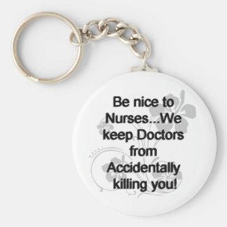 Be Nice To Nurses Basic Round Button Key Ring
