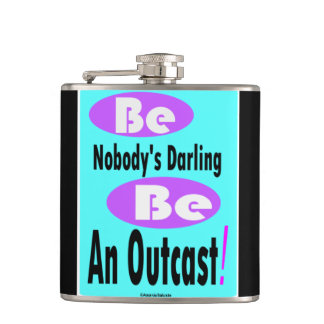 Be Nobody's Darling 6 oz black & teal colour Flask