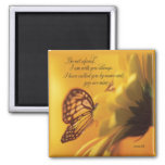 Be Not Afraid Religious Butterfly on Daisy Square Magnet