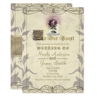 Be Our Guest Enchanted Rose Gold Vintage Wedding Card