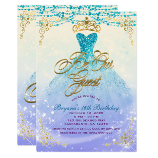 Be Our Guest Princess Aqua Purple Sweet 16 Party Card