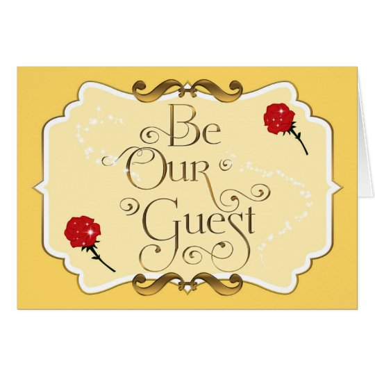 BE OUR GUEST Red Rose Yellow Elegant Folding