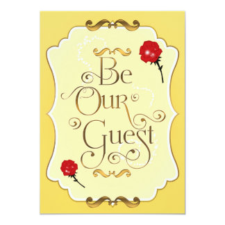 BE OUR GUEST Red Roses Elegant Event Party Card