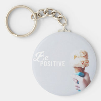 Be Positive Basic Round Button Key Ring