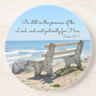 Be Still in the Presence of the Lord, Psalm 37:7 Sandstone Coaster