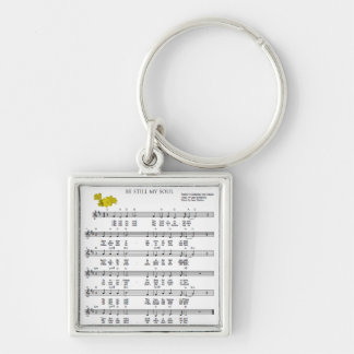 Be Still My Soul Silver-Colored Square Key Ring