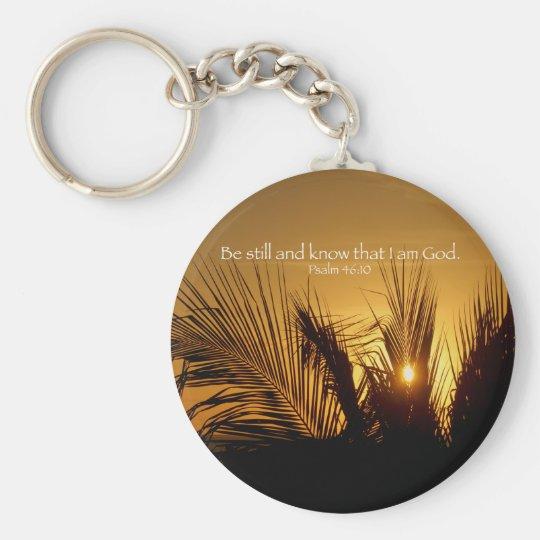 Be Still Sunset Basic Round Button Key Ring