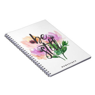 Be Still Watercolour Flowers Personalized Notebook