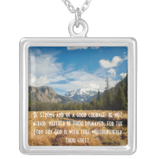 Be Strong and of a Good Courage Square Pendant Necklace