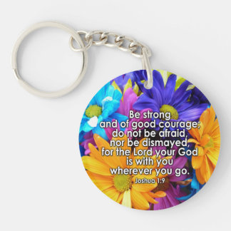 Be Strong Bible Scripture Key Ring